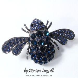 Jewelry - Navy Bubble Bee Crystal Brooch